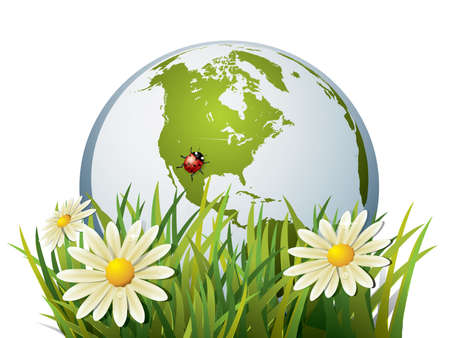 protect globe: Earth in grass