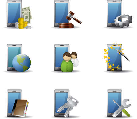 Mobile phones icon set Stock Vector - 9480930