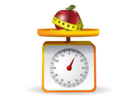weigh: apple on kitchen food scale on white background Illustration