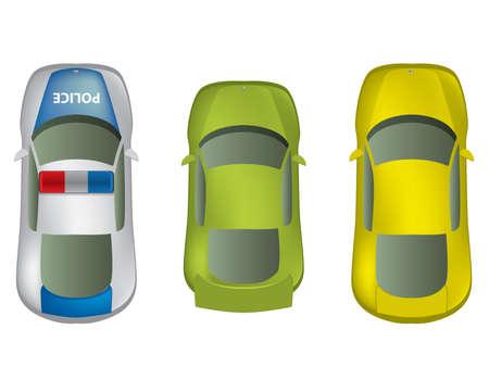 Bovenaanzicht verschillende auto's te stellen Stock Illustratie