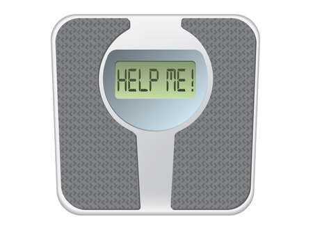 carb: Bathroom scale with the word help me! on the screen