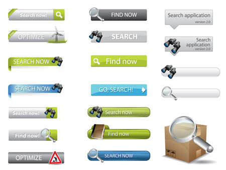 web pages: Search buttons for website search Illustration