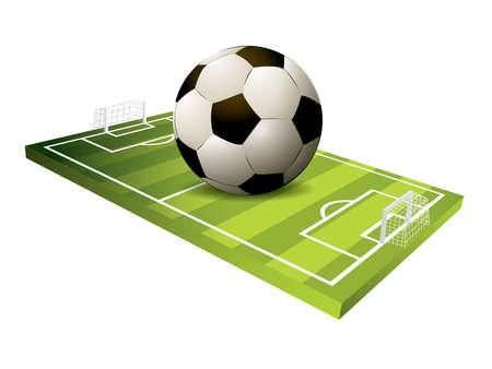 3d Soccer field vector Illustration