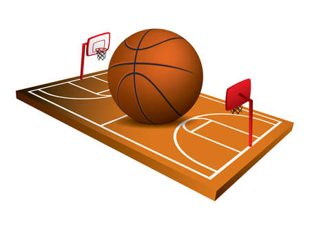terrain: 3d Basketball field vector