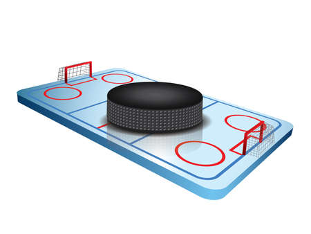 hockey goal: 3d Hockey field vector Illustration