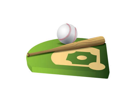 Baseball and bat on 3d field Stock Vector - 9640848