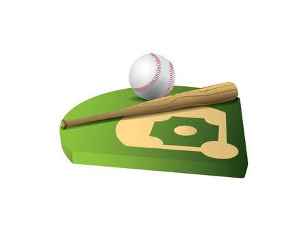 Baseball and bat on 3d field 矢量图像