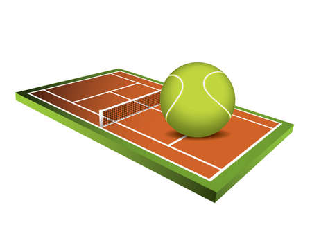 terrain: 3d Tennis field vector