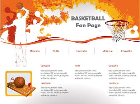 basketball net: Plantilla de dise�o del sitio web de baloncesto Vectores