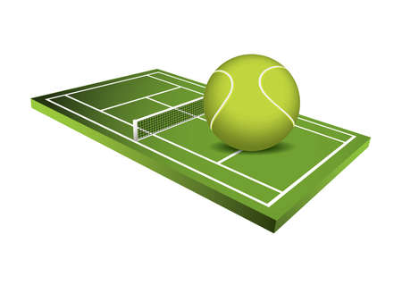 lawn tennis: 3d Tennis field vector