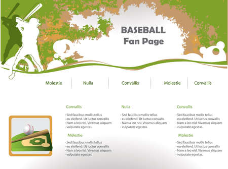 Baseball web site design template Stock Vector - 9716657