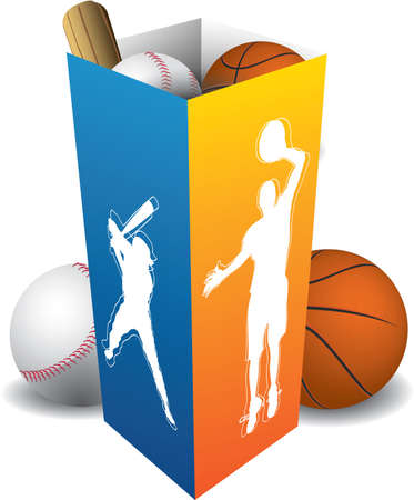 Sport player box with accesories Vector