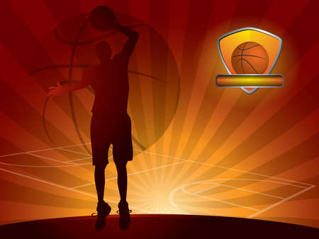 Basketball player with a ball Vector