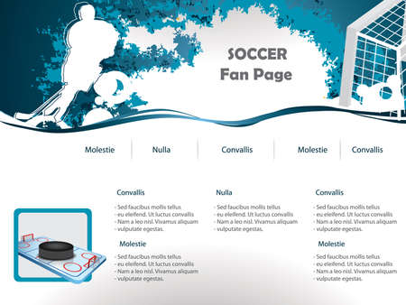 Hockey web site design template Vector