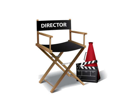 directeur: Movie director chair Stock Illustratie