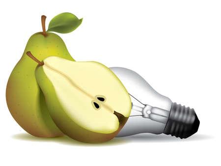 originalidad: Forma de pera bombilla con peras