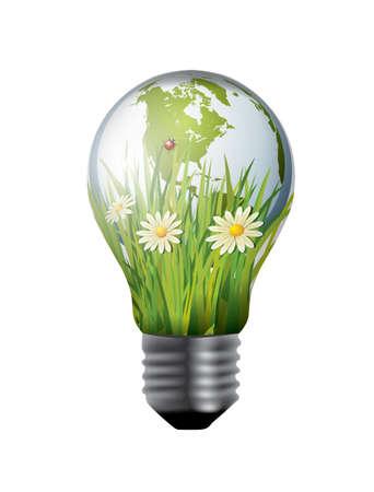 Light bulb with green world inside  イラスト・ベクター素材
