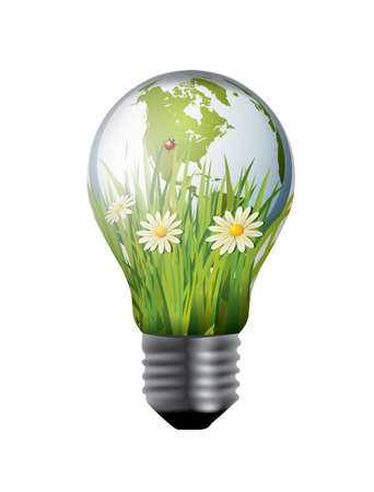 save the planet: Light bulb with green world inside Illustration