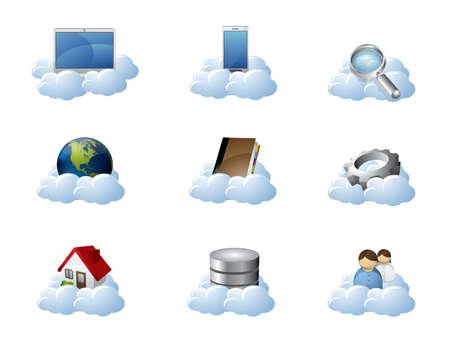 monitoreo: Iconos de vector de Cloud Computing