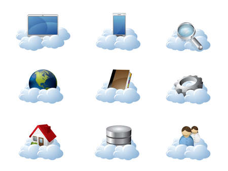 hosts: Vector Icons for Cloud Computing Illustration