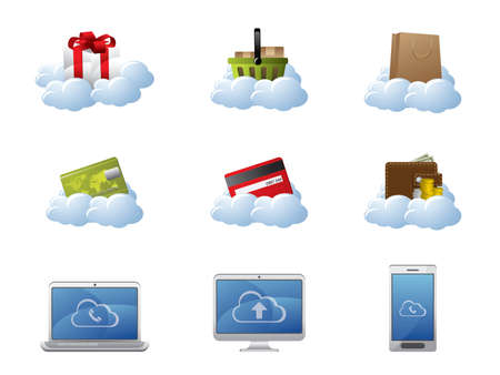E-Commerce in Cloud Computing Stock Vector - 9846094