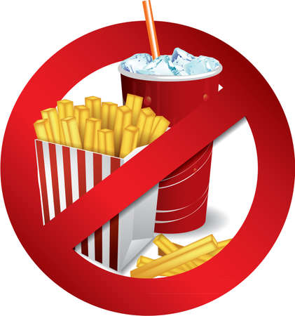 prohibiting: Fast food danger label  Illustration