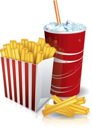 Comida chatarra - papas fritas y soda Ilustración de vector