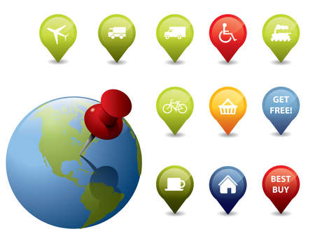 GPS icons and signs Vector