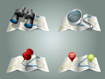 Vector folding map  Illustration