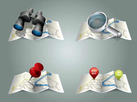 destinos: Vector mapa plegado Vectores