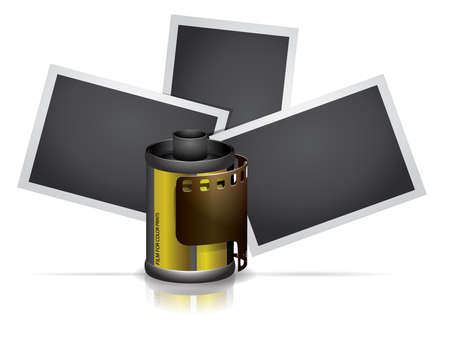 Camera roll film with photos Vector