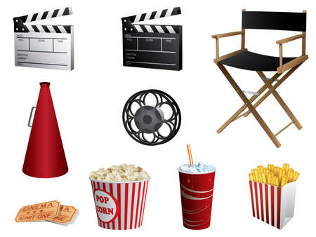 action movie: Cinema symbols vector set isolated on white Illustration