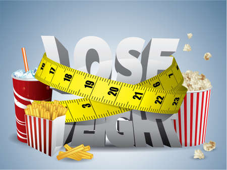 measure tape: Lose weight text with measure tape and junk food Illustration