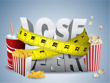 Perdere peso con testo nastro di misura e cibo spazzatura Vettoriali