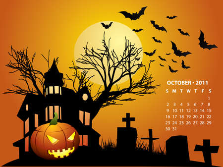 October calendar - Halloween with haunted house, bats and pumpkin Vector