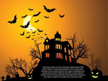 Halloween con casa embrujada, murciélagos y calabaza