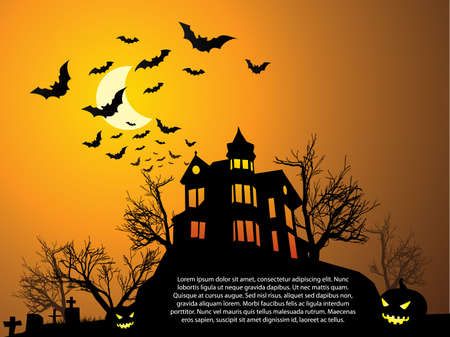 horror house: Halloween with haunted house, bats and pumpkin
