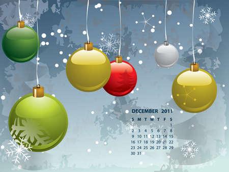 december calendar: 2011 Dicembre calendario Vettoriali