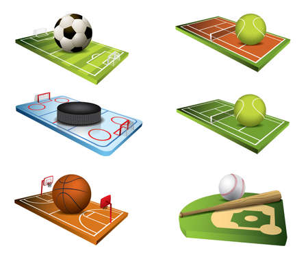 team sports: Vector sport fields icons