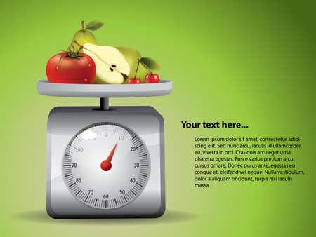 balanza en equilibrio: Balanza de cocina con frutas