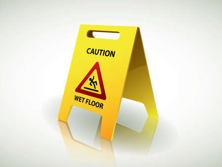 slippery sign: Caution - wet floor sign Illustration