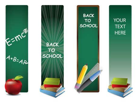 classroom supplies: Volver a la escuela banners verticales Vectores