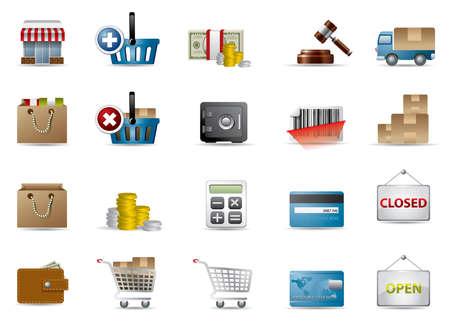 Compras y comercio electrónico iconos Ilustración de vector