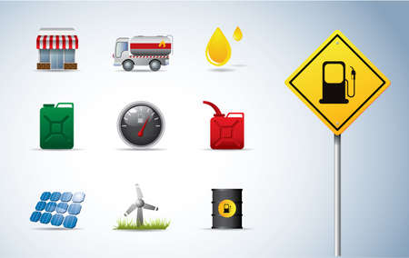 cistern: Gasoline, oil and energy icons Illustration