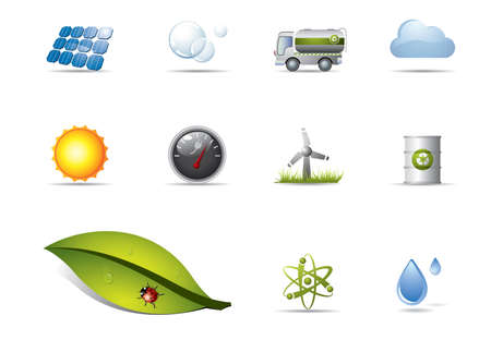 atomic energy: Power and renewable energy icons