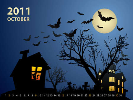 October calendar - Halloween with haunted house, bats and pumpkin Vector