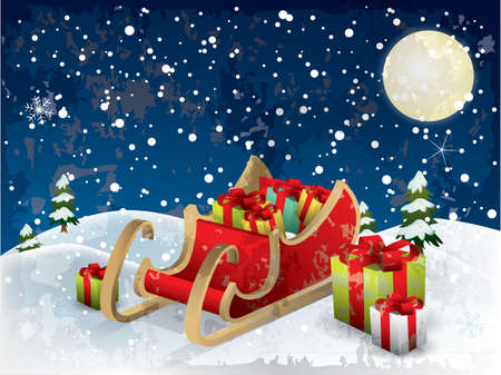 Santa�s sleigh tree and snow Vector