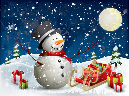 Snowman with gifts Illustration