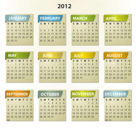 2012 calendar - square frames with tabs Stock Vector - 10590525