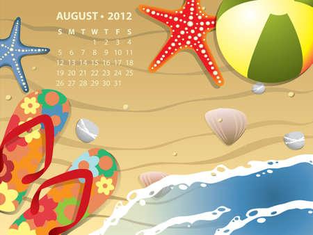 august calendar: Calendario de agosto - playa con starfush y pelota